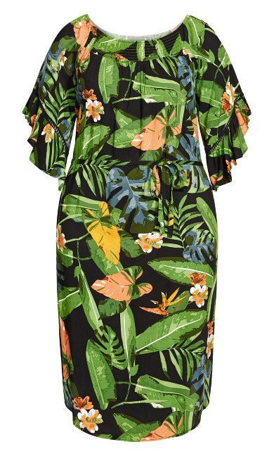Shirred Smock Dress -  green