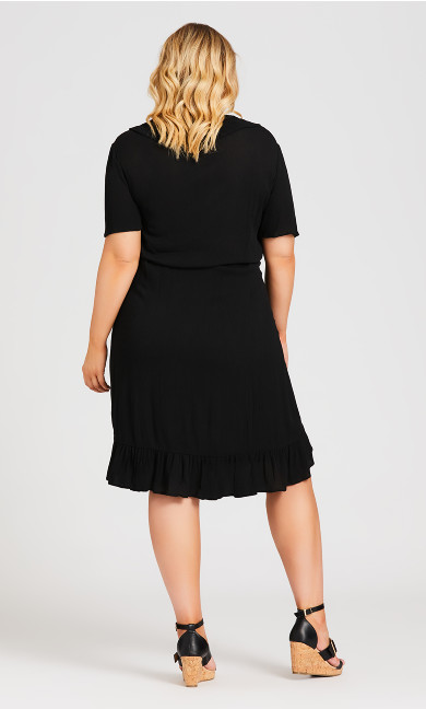 Crinkle Wrap Plain Dress - black