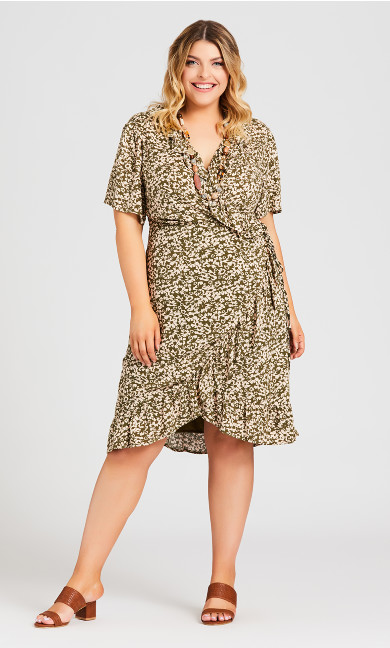 Plus Size Wrap Crinkle Print Dress - olive