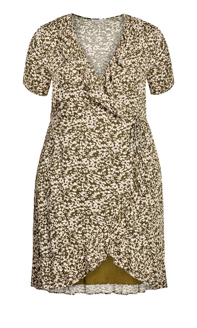 Crinkle Wrap Print Dress - olive