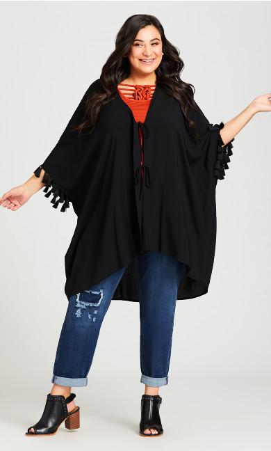 Plus Size Plain Tassel Kimono - black