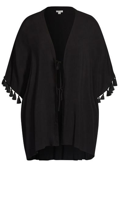 Plain Tassel Kimono - black