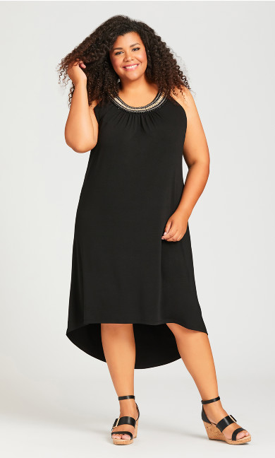 Plus Size Beaded Dress - black