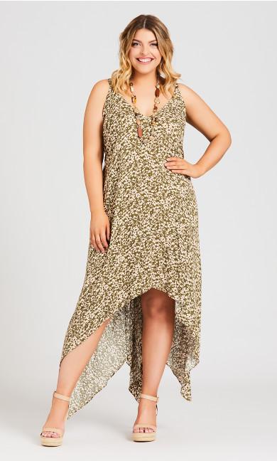 Plus Size Trapeze Print Dress - olive
