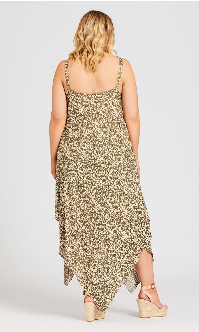 Trapeze Print Dress - olive