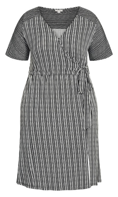 Tie Stripe Dress - black
