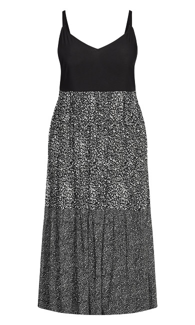 Three Tier Print Dress - black