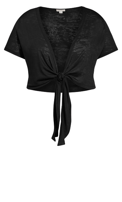 Tie Front Shrug - black