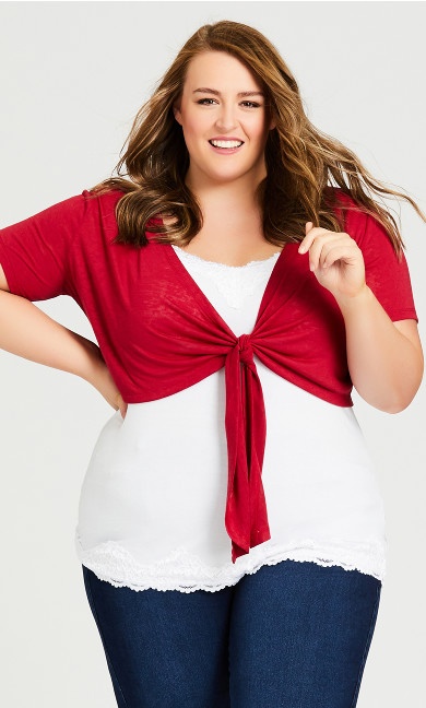 Plus Size Tie Front Shrug -  red