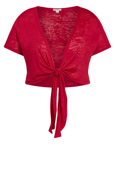 Tie Front Shrug -  red
