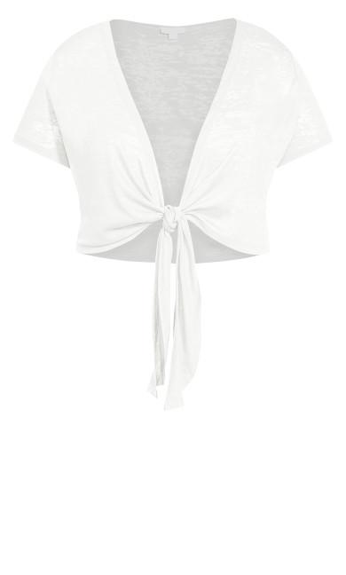 Tie Front Shrug - white
