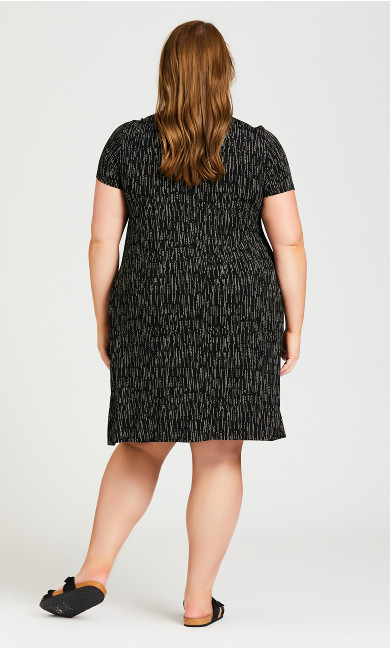Pleat Print Dress - black