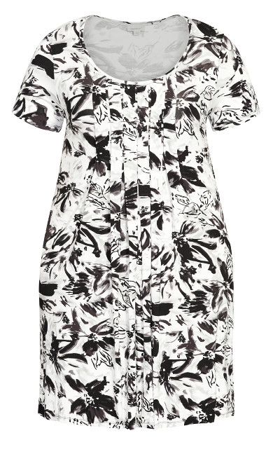 Pleat Print Dress - white