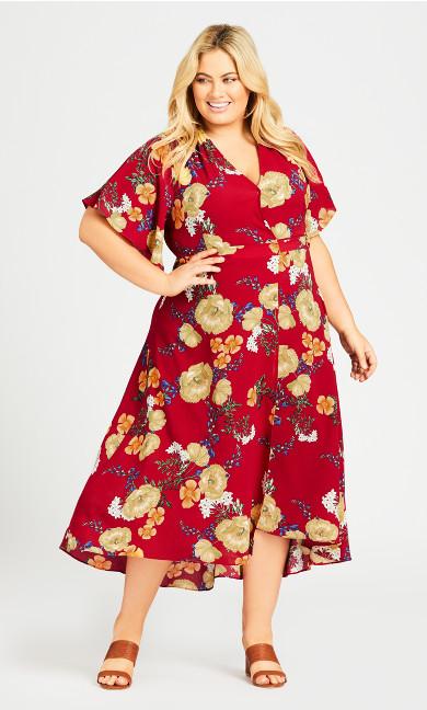 Plus Size Viv Wrap Maxi Dress - scarlet