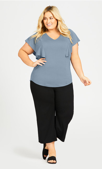 Plus Size Knit Plain Pant -black