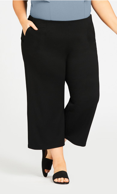 Knit Plain Pant - black