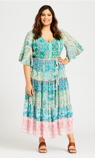 Plus Size Pippa Printed Maxi Dress - turqouise