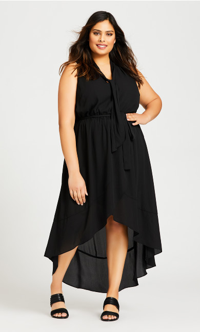 Plus Size Adriatic Plain Dress - black
