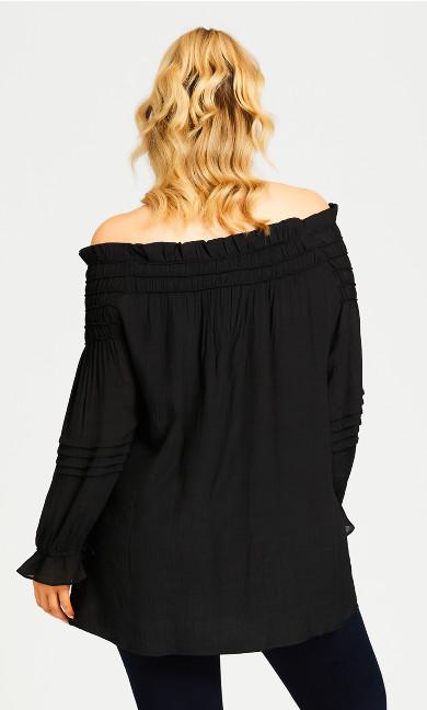 Boho Off Shoulder Top - black