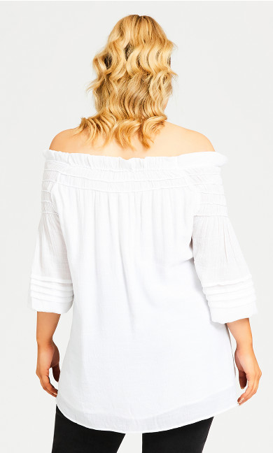 Boho Off Shoulder Top - white