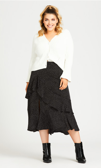 Plus Size Ruffle Spot Skirt - black