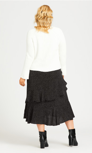 Ruffle Spot Skirt - black