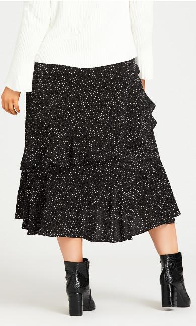 Ruffle Spot Skirt - black
