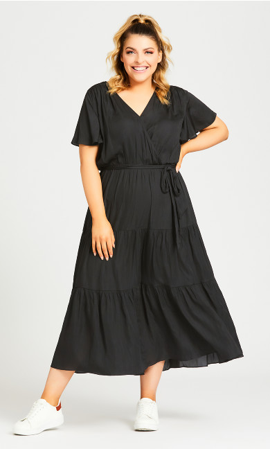 Plus Size Belted Mock Wrap Dress - black