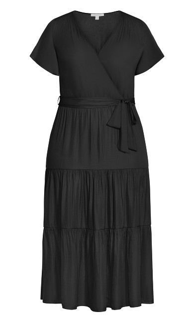 Belted Mock Wrap Dress - black