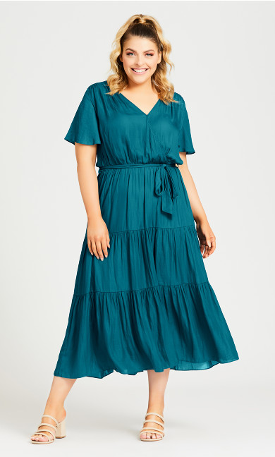 Plus Size Belted Mock Wrap Dress - teal
