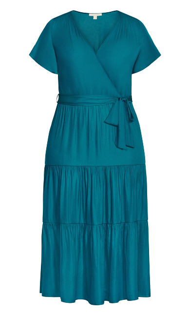 Belted Mock Wrap Dress - teal