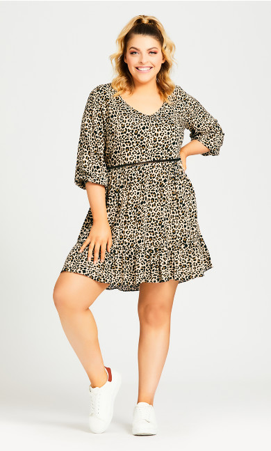 Plus Size Lora Smock Dress - cheetah