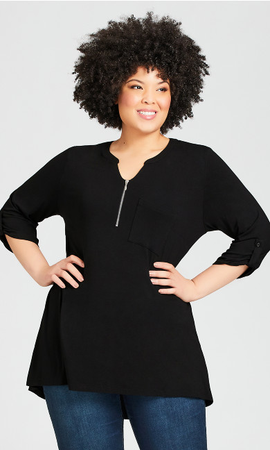 Plus Size Zip Knit Tunic - black