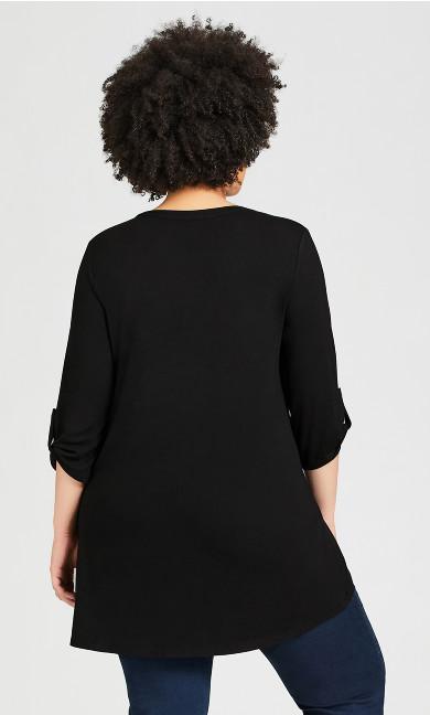 Zip Knit Tunic - black