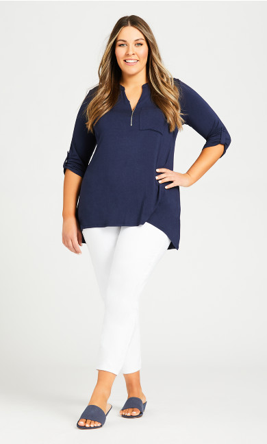 Zip Knit Tunic - navy