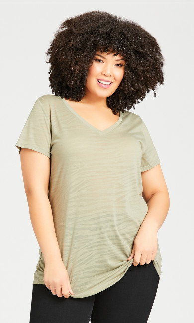 Plus Size Textured Burnout Top - sage