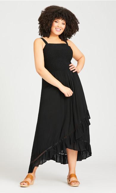 Plus Size Shirred Ruffle Dress - black