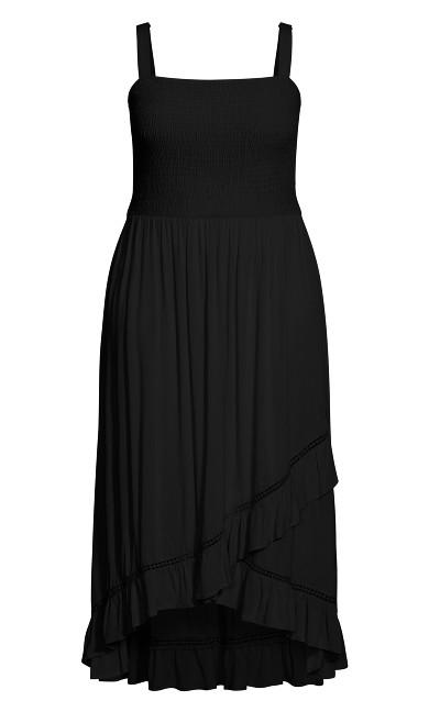 Shirred Ruffle Dress - black