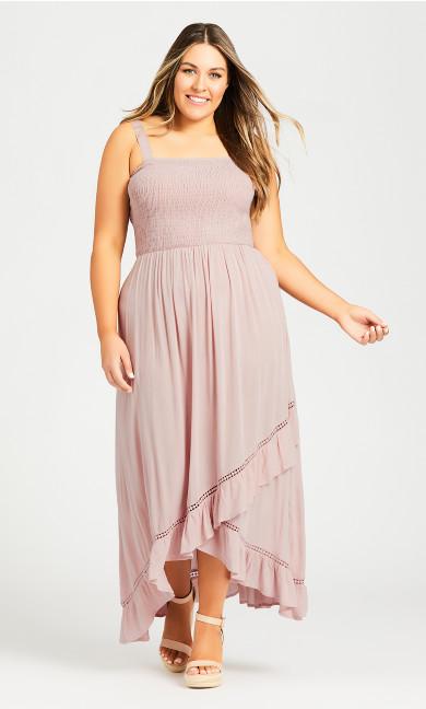 Plus Size Shirred Ruffle Dress - blush
