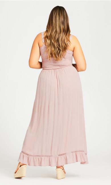 Shirred Ruffle Dress - blush