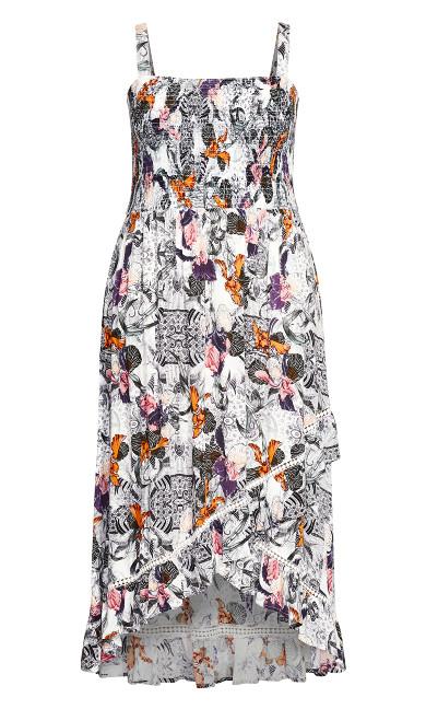 Shirred Ruffle Print Dress - white