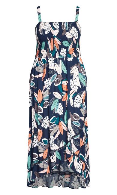 Shirred Ruffle Print Dress - navy