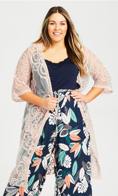 Plus Size Embroidered Kimono Jacket - blush