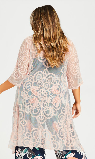 Embroidered Kimono Jacket - blush