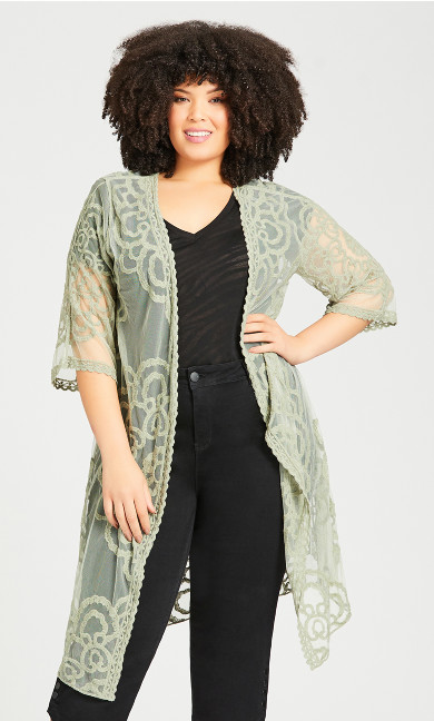 Plus Size Embroidered Kimono Jacket - sage