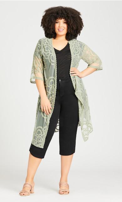 Embroidered Kimono Jacket - sage