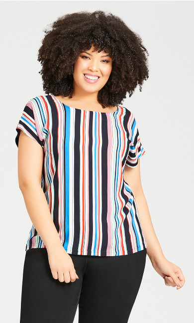 Plus Size Mixed Media Stripe Top - navy