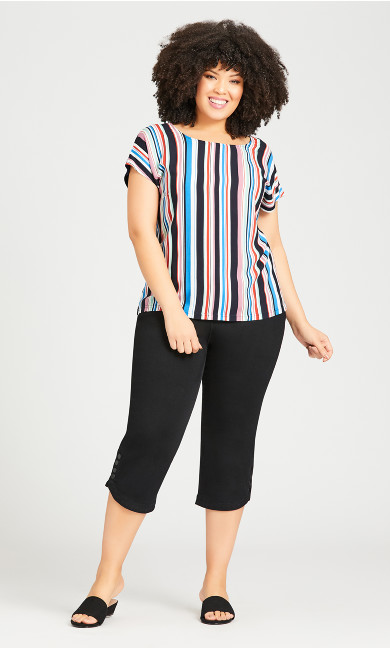 Mixed Media Stripe Top - navy