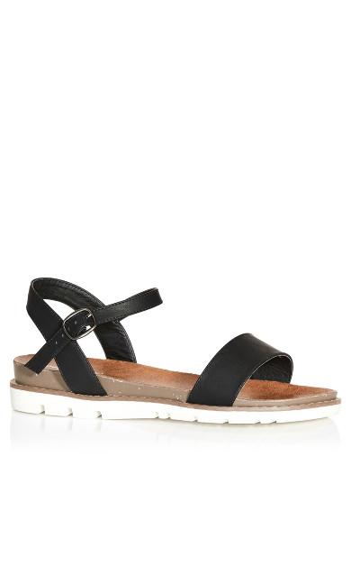 Plus Size Kylie Flat Sandal - black