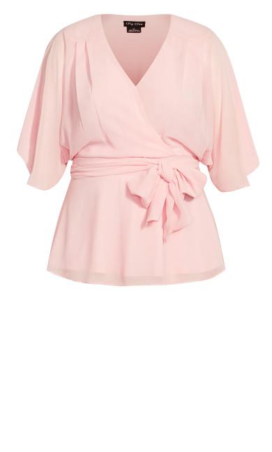 Elegant Wrap Top - ice pink